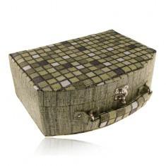 Cutiuţă pentru bijuterii pătrată, de culoare verde cu două suporturi şi mâner - Cutie Bijuterii