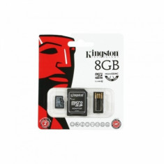 Card memorie Kingston Micro SDHC 8GB clasa 10 Adaptor SD USB card reader - Card Micro SD