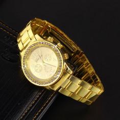 Ceas dama Geneva auriu bratara metalica cadran cu cristale superb cutie cadou, Quartz, Metal necunoscut, Nou