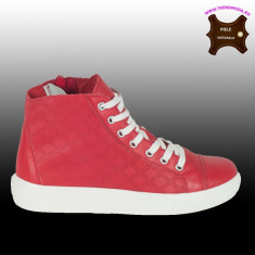 Ghete sneakers piele naturala RAQUEL rosu (Marime: 36) - Adidasi dama