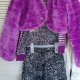 OUTFIT jacheta blanita + fusta + bluza 10-12 ani fete, Marime: S/M, Culoare: Mov