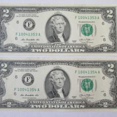 2 BANCNOTE 2 DOLLARS 2013 USA SERII CONSECUTIVE - bancnota america