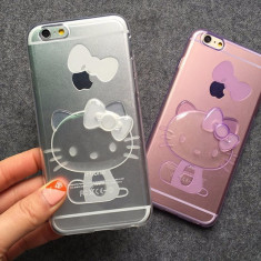 Husa silicon 3D hello kitty si sclipici iphone 6 plus, 6s plus - alb - Husa Telefon, iPhone 6/6S, Transparent