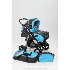 Carucior 3 in 1 Junior Charchoal Grey Turqoise Baby-Merc - Carucior copii 3 in 1