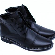Lichidare Ghete barbati din piele naturala (imblanite) Negru - Attila - Pantofi barbati, Marime: 40