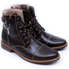 Lichidare Ghete barbati din piele naturala (imblanite) Maro Oxford model iarna 2015 - Made in Romania - Pantofi barbati, Marime: 39