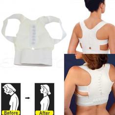 Centura de spate si umeri din neopren cu magneti 2083 suport umeri, alb - Echipament Fitness