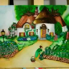Tablou pictat pe panza in culori acrilice si acuarele. - Tablou autor neidentificat, Natura, Realism