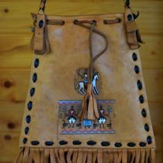 Gentuta din piele naturala decorata in stil indian - Geanta handmade