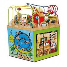 Cub din lemn cu activitati, Small Foot Company - Vehicul