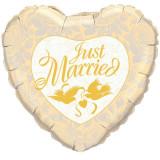 Balon nunta Folie inima 45cm Just Married Porumbei Trandafiri