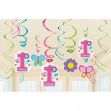 12 Spirale decoratiuni Prima Aniversare Fetita Sweet Birthday Girl