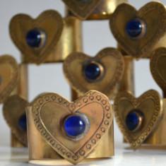 Lot 12 inele pentru servetele din alama si sticla cobalt, realizate manual