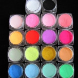 Set acril colorat, Pudra acrilica colorata, Set 12 cutiute acrilice, Pudra - Gel unghii
