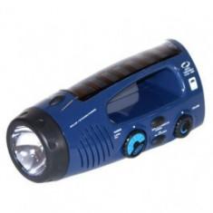 Generic Lanterna incarcare solara+dinam, Radio FM/AM, Albastru