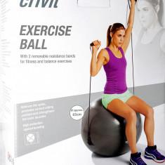 Minge fitness cu benzi elastice - 65 cm - cu pompa si brosura de exercitii