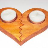 Decoratiuni - Suport din lemn pentru lumanari, in forma de inima, 2 jumatati, broken heart