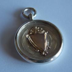 Pandantiv placate cu aur - Brelog aur si argint pentru ceas de buzunar
