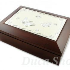 Cutie Bijuterii - Caseta din Lemn Natural, cu placheta argintie, cod 21
