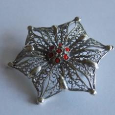 Brosa argint floare in filigran