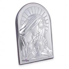 Icoana brodate - Maica Domnului si Iisus, Lucrata pe Foita de Argint 925, 11.5x17cm