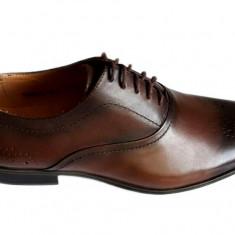 Pantofi barbati lux - eleganti din piele naturala maro cu siret - Model Tino