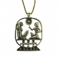 Lant argint vechi, pandantiv mitologie egipteana, design etnic elaborat, semnat - Lantisor argint