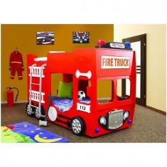 Pat copii - Pat Etajat In Forma De Masina Pompieri Plastiko