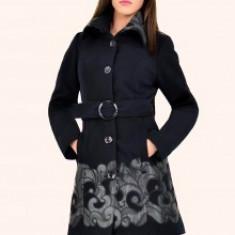Palton dama - Haina stofa Ramona, dama, aplicatii piele eco, cordon, culoare negru