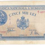 2)Bancnota 5000 lei 28 septembrie 1943 VF+ portret Traian+Decebal, An: 1943