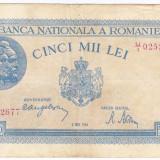 1)Bancnota 5000 lei 2 mai 1944, portret Traian+Decebal