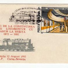 PLIC LILIPUT DIMENSIUNE MICA 105X65 LOCOMOTIVA RESITA 1992 STAMPILA SPECIALA