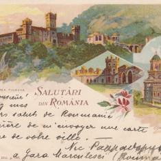 OLTENIA, SALUTARI DIN ROMANIA, MONASTIREA TISMANA SI CURTEA DE ARGES *898 - Carte Postala Oltenia pana la 1904, Circulata, Printata