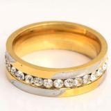 Inel placate cu aur - Superb inel verigheta 9K gold filled cu cu zircon cz. Marimea 5.5, 6, 7 si 8