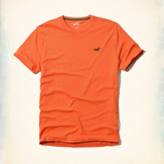 Tricou Hollister - Abercrombie & Fitch mas XL-LICHIDARE DE STOC - Tricou barbati Abercrombie & Fitch, Culoare: Orange, Maneca scurta
