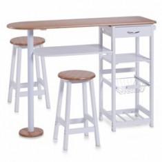 Mobila pentru baruri si cluburi - Masa bar cu 2 scaune MDF bambus