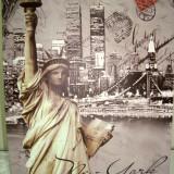 Punga / Pungi Cadou hartie cerata - 23 x 18 x 10 cm - model Statua libertatii