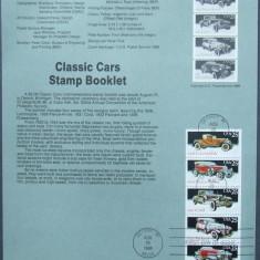 Colectii filatelie - SUA 1988 - MASINI CLASICE, 1 CARTON PREZENTARE OBLITERAT PRIMA ZI - E4016