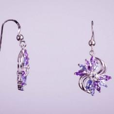 Cercei argint - Cercei floare din argint cu ametist și tanzanit