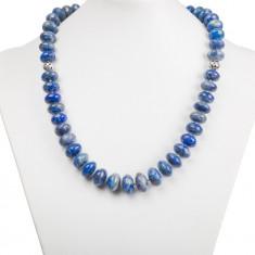 Colier argint - Colier statement din argint cu rondele de lapis lazuli