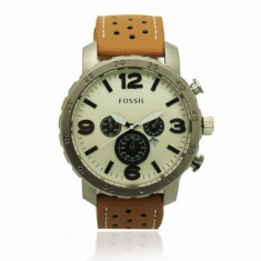 Ceas FOSSIL NATE Cronograph CASUAL, Brown -White Edition !!! - Ceas barbatesc Fossil, Quartz, Piele ecologica