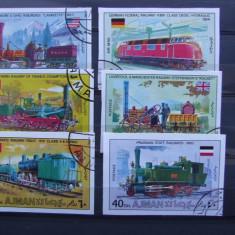 Timbre straine, Stampilat - Ajman, trenuri, locomotive, serie stampilata