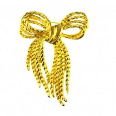 Brosa placata aur, gold plated 18 k, duble, vintage, model funda, semnata Angel - Brosa placate cu aur