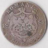 Monede Romania - Moneda 50 bani 1881 - Romania, 2, 5 g argint 0, 8350, cotatii ridicate!!!