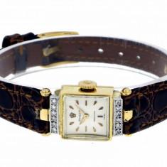 Ceas de Dama Rolex, Lux - elegant, Analog, Piele - ROLEX aur 18k cu diamante