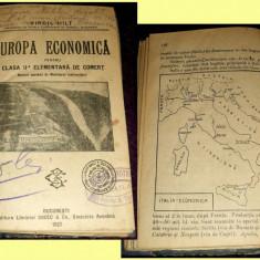 Carte veche - Virgil Hilt - EUROPA economica clasa a II-a elementara de comert, manual 1927
