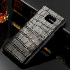 Husa SLIM piele NATURALA tip crocodil, SAMSUNG NOTE 5, fara clapeta, NEGRU - Husa Telefon