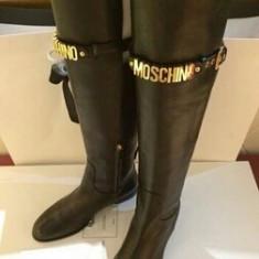 Cizme dama Moschino, Piele naturala - Cizme piele fara toc, peste genunchi MOSCHINO - PE STOC - Super Promotie!!!