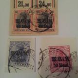 Timbre Romania, Stampilat - Germania/ocupatia in romania/1917 uzuale suprat stampilate/pe fragment de hartie