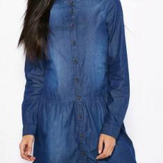 Rochie tip camasa - Only - art. 15105254 dark blue denim - Rochie de zi Only, Marime: 36, 38, Culoare: Albastru